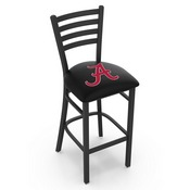 L004 - 30 Black Wrinkle Alabama (Script A) Stationary Bar Stool with Ladder Style Back by Holland Bar Stool Co.