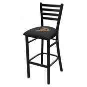 L004 - 30 Black Wrinkle Anaheim Ducks Stationary Bar Stool with Ladder Style Back by Holland Bar Stool Co.