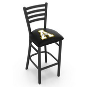 L004 - 30 Black Wrinkle Appalachian State Stationary Bar Stool with Ladder Style Back by Holland Bar Stool Co.