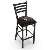 L004 - 25 Black Wrinkle Arizona State Stationary Counter Stool with Ladder Style Back and Pitchfork Logo by Holland Bar Stool Co.