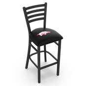 L004 - 30 Black Wrinkle Arkansas Stationary Bar Stool with Ladder Style Back by Holland Bar Stool Co.