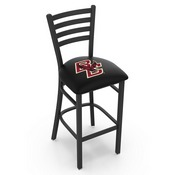 L004 - 25 Black Wrinkle Boston College Stationary Counter Stool with Ladder Style Back by Holland Bar Stool Co.