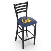 L004 - 25 Black Wrinkle Cal Stationary Counter Stool with Ladder Style Back by Holland Bar Stool Co.