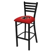L004 - 25 Black Wrinkle Calgary Flames Stationary Counter Stool with Ladder Style Back by Holland Bar Stool Co.