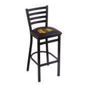 L004 - 25 Black Wrinkle Chicago Blackhawks Stationary Counter Stool with Ladder Style Back by Holland Bar Stool Co.