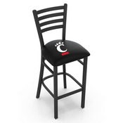 L004 - 25 Black Wrinkle Cincinnati Stationary Counter Stool with Ladder Style Back by Holland Bar Stool Co.