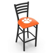 L004 - 30 Black Wrinkle Clemson Stationary Bar Stool with Ladder Style Back by Holland Bar Stool Co.