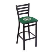 L004 - 25 Black Wrinkle Colorado State Stationary Counter Stool with Ladder Style Back by Holland Bar Stool Co.