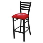 L004 - 30 Black Wrinkle Detroit Red Wings Stationary Bar Stool with Ladder Style Back by Holland Bar Stool Co.