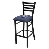 L004 - 30 Black Wrinkle Edmonton Oilers Stationary Bar Stool with Ladder Style Back by Holland Bar Stool Co.
