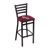 L004 - 25 Black Wrinkle Florida State (Script) Stationary Counter Stool with Ladder Style Back by Holland Bar Stool Co.