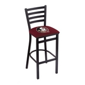 L004 - 25 Black Wrinkle Florida State (Head) Stationary Counter Stool with Ladder Style Back by Holland Bar Stool Co.