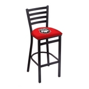 L004 - 25 Black Wrinkle Georgia Bulldog Stationary Counter Stool with Ladder Style Back by Holland Bar Stool Co.