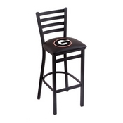 L004 - 25 Black Wrinkle Georgia G Stationary Counter Stool with Ladder Style Back by Holland Bar Stool Co.