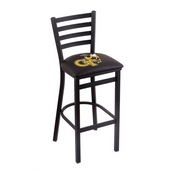 L004 - 30 Black Wrinkle Georgia Tech Stationary Bar Stool with Ladder Style Back by Holland Bar Stool Co.