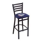 L004 - 25 Black Wrinkle Gonzaga Stationary Counter Stool with Ladder Style Back by Holland Bar Stool Co.