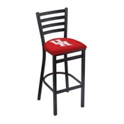L004 - 25 Black Wrinkle Houston Stationary Counter Stool with Ladder Style Back by Holland Bar Stool Co.