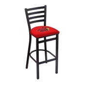 L004 - 25 Black Wrinkle Illinois State Stationary Counter Stool with Ladder Style Back by Holland Bar Stool Co.