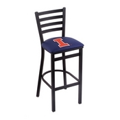 L004 - 30 Black Wrinkle Illinois Stationary Bar Stool with Ladder Style Back by Holland Bar Stool Co.