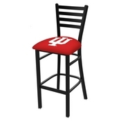 L004 - 30 Black Wrinkle Indiana Stationary Bar Stool with Ladder Style Back by Holland Bar Stool Co.