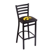 L004 - 25 Black Wrinkle Iowa Stationary Counter Stool with Ladder Style Back by Holland Bar Stool Co.