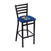 L004 - 25 Black Wrinkle Kansas Stationary Counter Stool with Ladder Style Back by Holland Bar Stool Co.