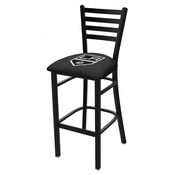 L004 - 25 Black Wrinkle Los Angeles Kings Stationary Counter Stool with Ladder Style Back by Holland Bar Stool Co.