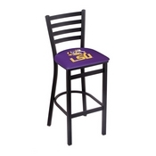L004 - 25 Black Wrinkle Louisiana State Stationary Counter Stool with Ladder Style Back by Holland Bar Stool Co.