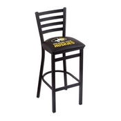 L004 - 30 Black Wrinkle Michigan Tech Stationary Bar Stool with Ladder Style Back by Holland Bar Stool Co.