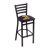 L004 - 30 Black Wrinkle Missouri Western State Stationary Bar Stool with Ladder Style Back by Holland Bar Stool Co.