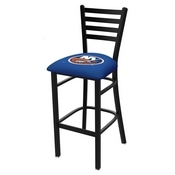 L004 - 25 Black Wrinkle New York Islanders Stationary Counter Stool with Ladder Style Back by Holland Bar Stool Co.