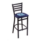 L004 - 30 Black Wrinkle North Carolina Stationary Bar Stool with Ladder Style Back by Holland Bar Stool Co.