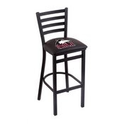 L004 - 25 Black Wrinkle Northern Illinois Stationary Counter Stool with Ladder Style Back by Holland Bar Stool Co.