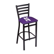 L004 - 25 Black Wrinkle Northwestern Stationary Counter Stool with Ladder Style Back by Holland Bar Stool Co.