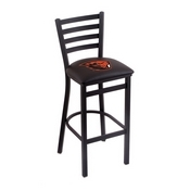 L004 - 25 Black Wrinkle Oregon State Stationary Counter Stool with Ladder Style Back by Holland Bar Stool Co.