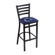 L004 - 25 Black Wrinkle Penn State Stationary Counter Stool with Ladder Style Back by Holland Bar Stool Co.