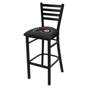 L004 - 30 Black Wrinkle Philadelphia Flyers Stationary Bar Stool with Ladder Style Back by Holland Bar Stool Co.