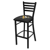 L004 - 25 Black Wrinkle Pittsburgh Penguins Stationary Counter Stool with Ladder Style Back by Holland Bar Stool Co.