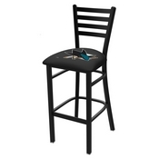 L004 - 25 Black Wrinkle San Jose Sharks Stationary Counter Stool with Ladder Style Back by Holland Bar Stool Co.