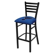 L004 - 25 Black Wrinkle St Louis Blues Stationary Counter Stool with Ladder Style Back by Holland Bar Stool Co.