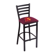 L004 - 25 Black Wrinkle USC Trojans Stationary Counter Stool with Ladder Style Back by Holland Bar Stool Co.