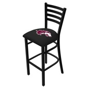 L004 - 30 Black Wrinkle Southern Illinois Stationary Bar Stool with Ladder Style Back by Holland Bar Stool Co.