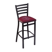 L004 - 25 Black Wrinkle Texas A&M Stationary Counter Stool with Ladder Style Back by Holland Bar Stool Co.