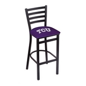 L004 - 25 Black Wrinkle TCU Stationary Counter Stool with Ladder Style Back by Holland Bar Stool Co.