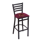 L004 - 25 Black Wrinkle Texas State Stationary Counter Stool with Ladder Style Back by Holland Bar Stool Co.
