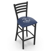 L004 - 25 Black Wrinkle US Naval Academy (NAVY) Stationary Counter Stool with Ladder Style Back by Holland Bar Stool Co.