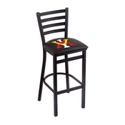 L004 - 25 Black Wrinkle Virginia Military Institute Stationary Counter Stool with Ladder Style Back by Holland Bar Stool Co.