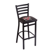 L004 - 30 Black Wrinkle Valdosta State Stationary Bar Stool with Ladder Style Back by Holland Bar Stool Co.