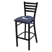 L004 - 25 Black Wrinkle Vancouver Canucks Stationary Counter Stool with Ladder Style Back by Holland Bar Stool Co.