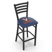 L004 - 25 Black Wrinkle Virginia Stationary Counter Stool with Ladder Style Back by Holland Bar Stool Co.